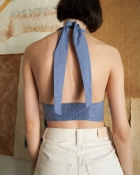 A HIDDEN BEE Halter Neck Crop Top - Tozlu Mavi