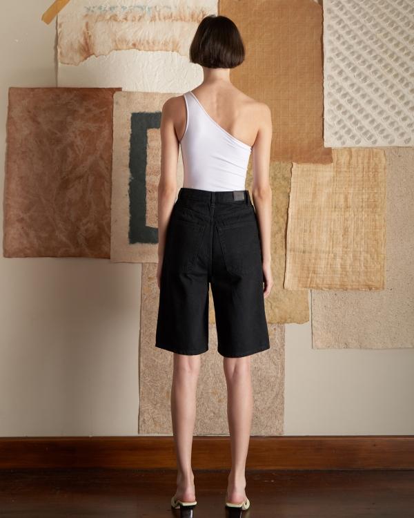 A HIDDEN BEE Bermuda Jean Shorts - Siyah