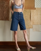 A HIDDEN BEE Bermuda Jean Shorts - Rich Indigo