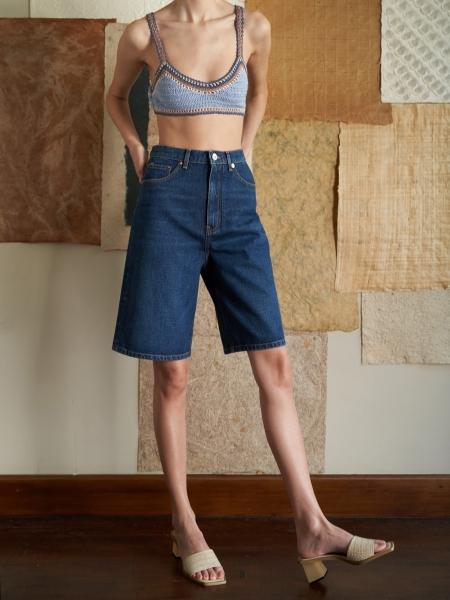 A HIDDEN BEE  Bermuda Jean Shorts - Rich Indigo