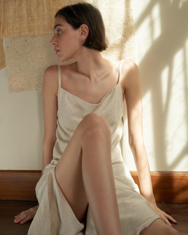 A HIDDEN BEE Midi Cowl Neck Dress - Bej