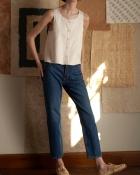 A HIDDEN BEE High Waist Rigid Slim Jeans - Rich Indigo