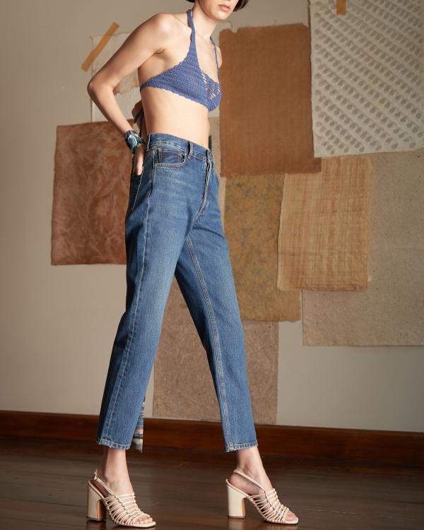 A HIDDEN BEE High Waist Rigid Slim Jeans - Authentic Medium Level