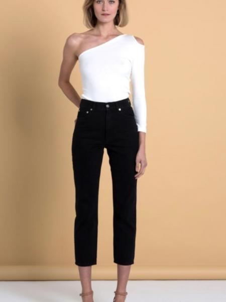 A HIDDEN BEE  High Waist Rigid Slim Jeans - Black