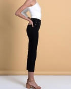 A HIDDEN BEE High Waist Rigid Slim Jeans - Black