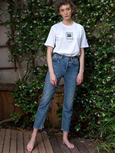 A HIDDEN BEE  High Waist Rigid Slim Jeans - Authentic Medium Wash