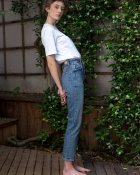 A HIDDEN BEE High Waist Rigid Slim Jeans - Authentic Medium Wash
