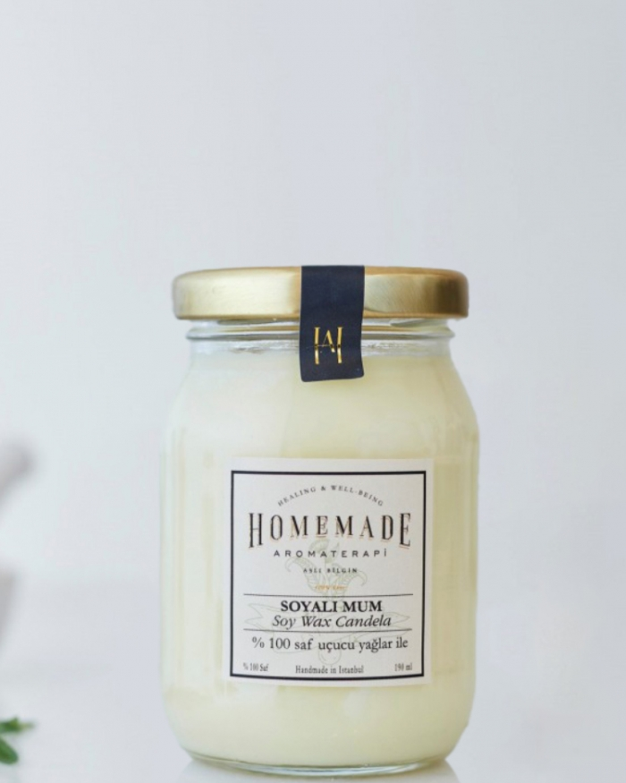 HOMEMADE AROMATERAPİ Limon & Portakal Soyalı Mum (Orta)