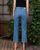 A HIDDEN BEE High Waist Straight Leg Jeans, Retro Bright Blue