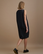 A HIDDEN BEE Balloon Dress Wool Denim