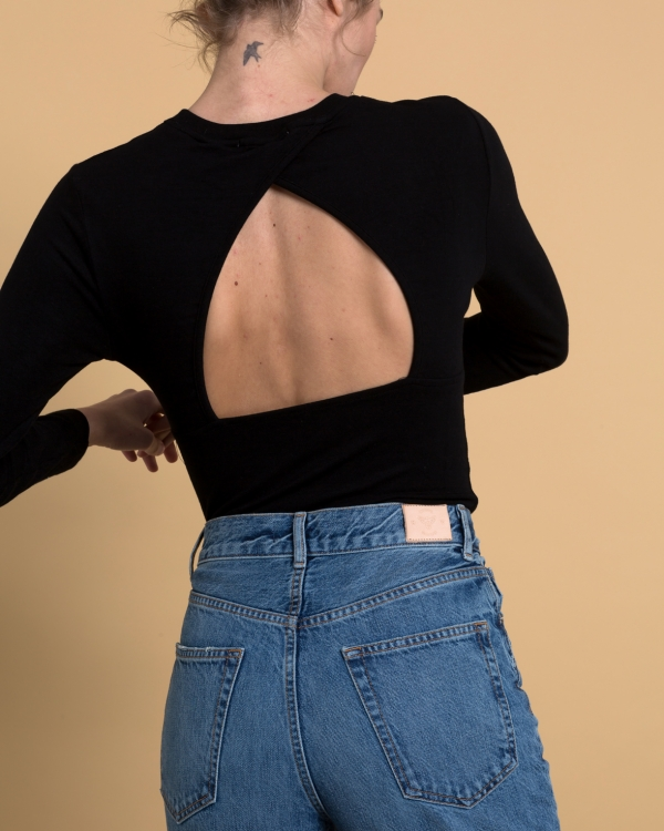 A HIDDEN BEE Open Back Jersey Top