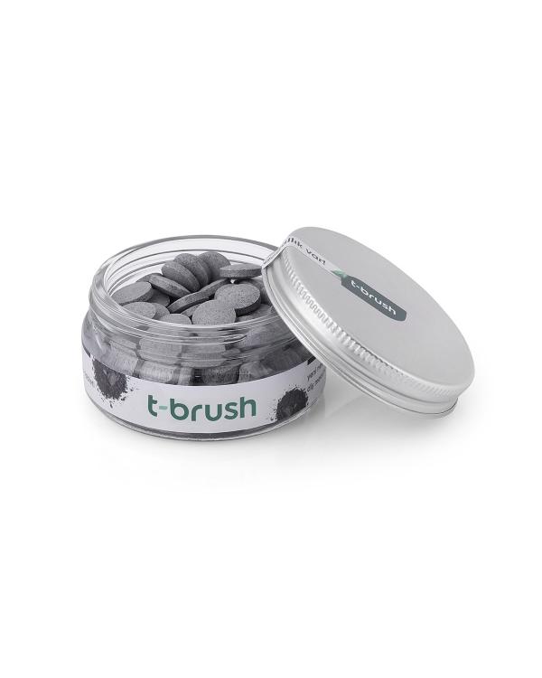 T-BRUSH  Activated Charcoal Diş Macunu Tableti-Florürsüz