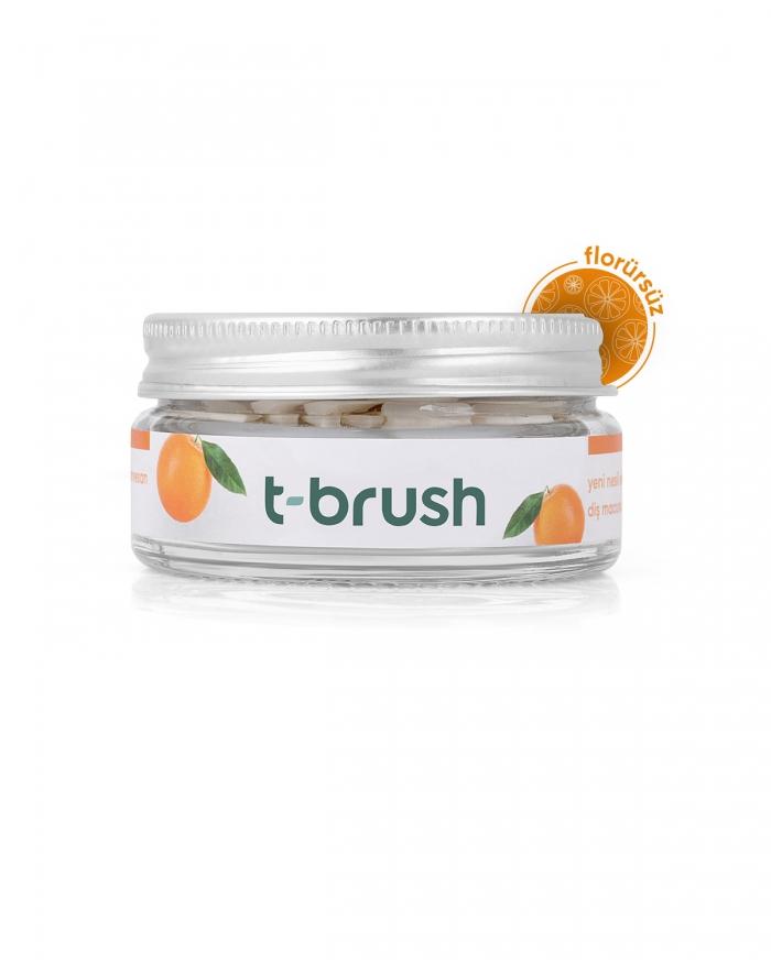 T-BRUSH  Portakal Aromalı Diş Macunu Tableti-Florürsüz