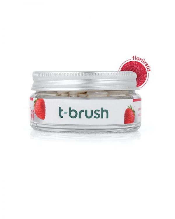 T-BRUSH  Çilek Aromalı Diş Macunu Tableti-Florürsüz