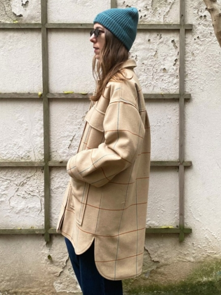 A HIDDEN BEE  Maxi Check Quilted Oversize Coat
