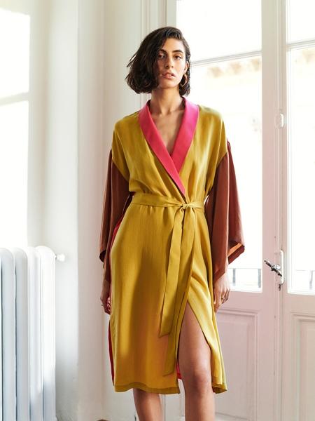 A HIDDEN BEE  Color Block Kimono Duster Dress
